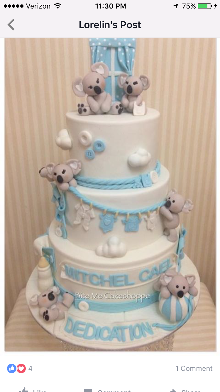Koala Bear Themed Baby Shower : koala, themed, shower, Bautizo, Shower, Cake,, Cakes, Boys,