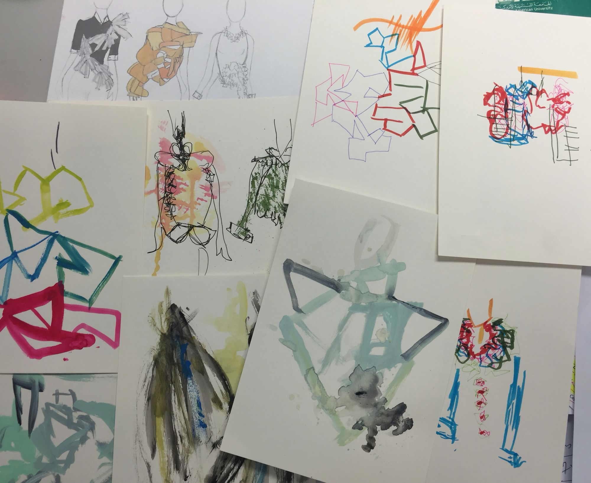 Semester I student, Diala,has made the connection between the experimental drawing exercises and the design process- namely that design is an open process. Great to see many drawing styles- yay! The system works.
