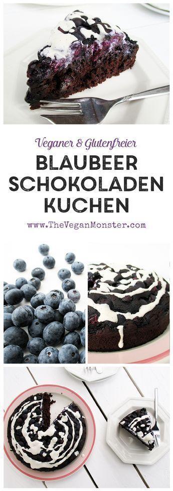 Veganer Glutenfreier Schokoladen Blaubeer Kuchen Rezept #glutenfreierezepte