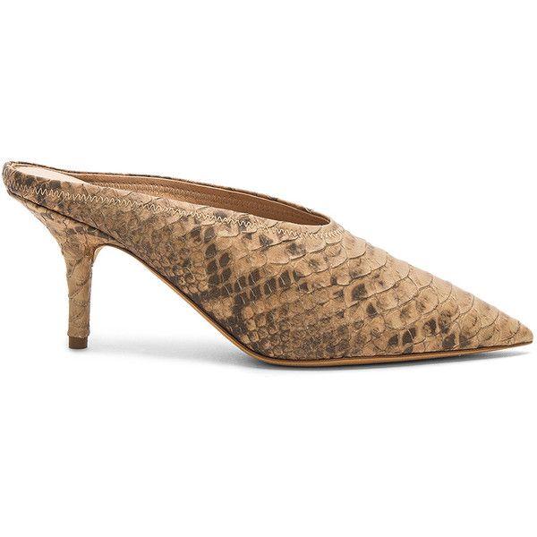 273d8c48 YEEZY Season 6 Mule Pump ($775) ❤ liked on Polyvore featuring shoes, pumps,  heels, slip on high heel mules, snakeskin shoes, high heeled footwear, ...