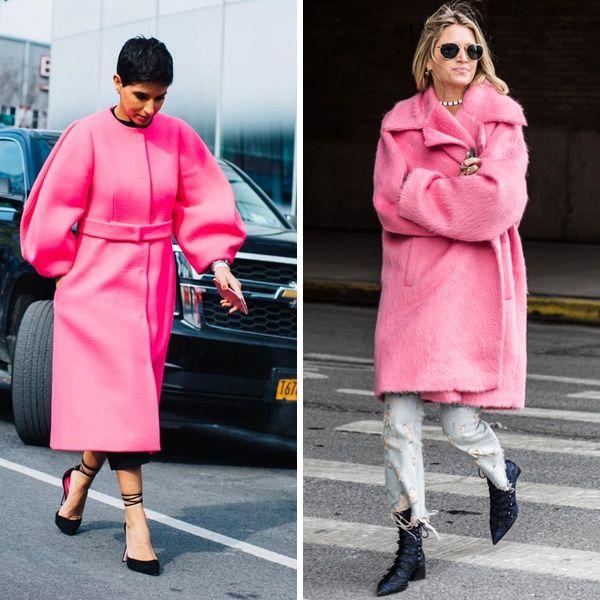 Уличный стиль весны 2017: пальто цвета фуксия