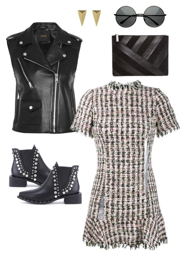 Glam punk by pupuwang on Polyvore featuring Sandy Liang, Maje, WithChic, Alice + Olivia and Alexis Bittar