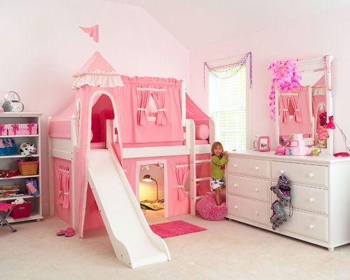 Girls Rooms Bed With Slide Princess Bunk Beds Kid Beds