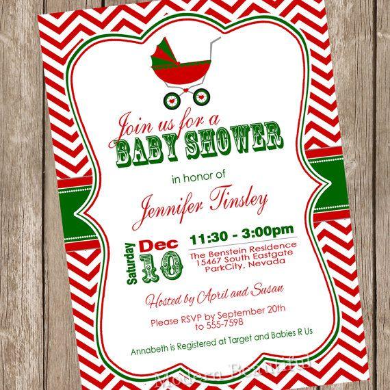 Christmas Baby Shower Invitation Shower By Modernbeautiful On Etsy