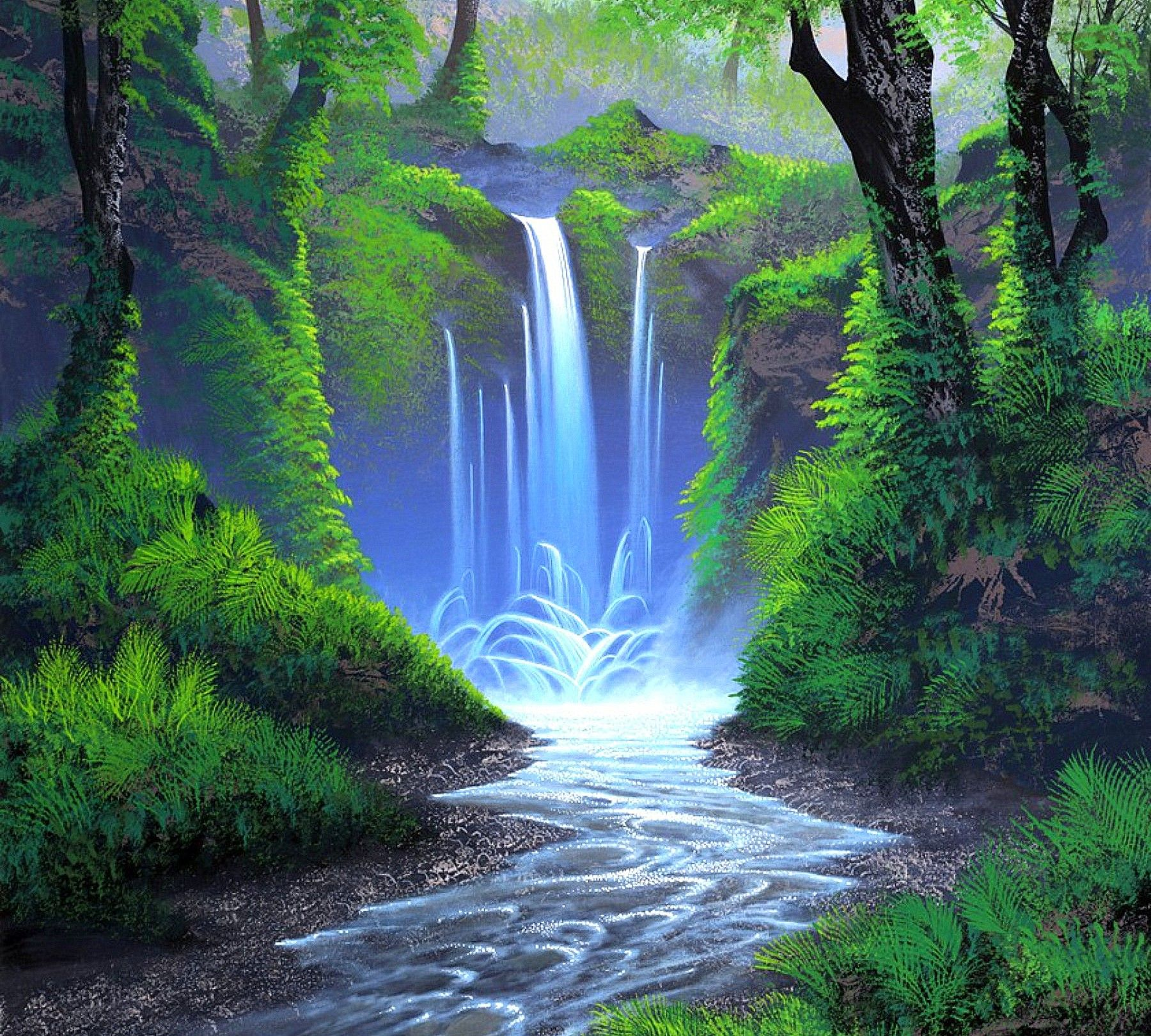 Whisper Forest Waterfall Places Paintings Forest Waterfall Grass Painting Colorful Drawings