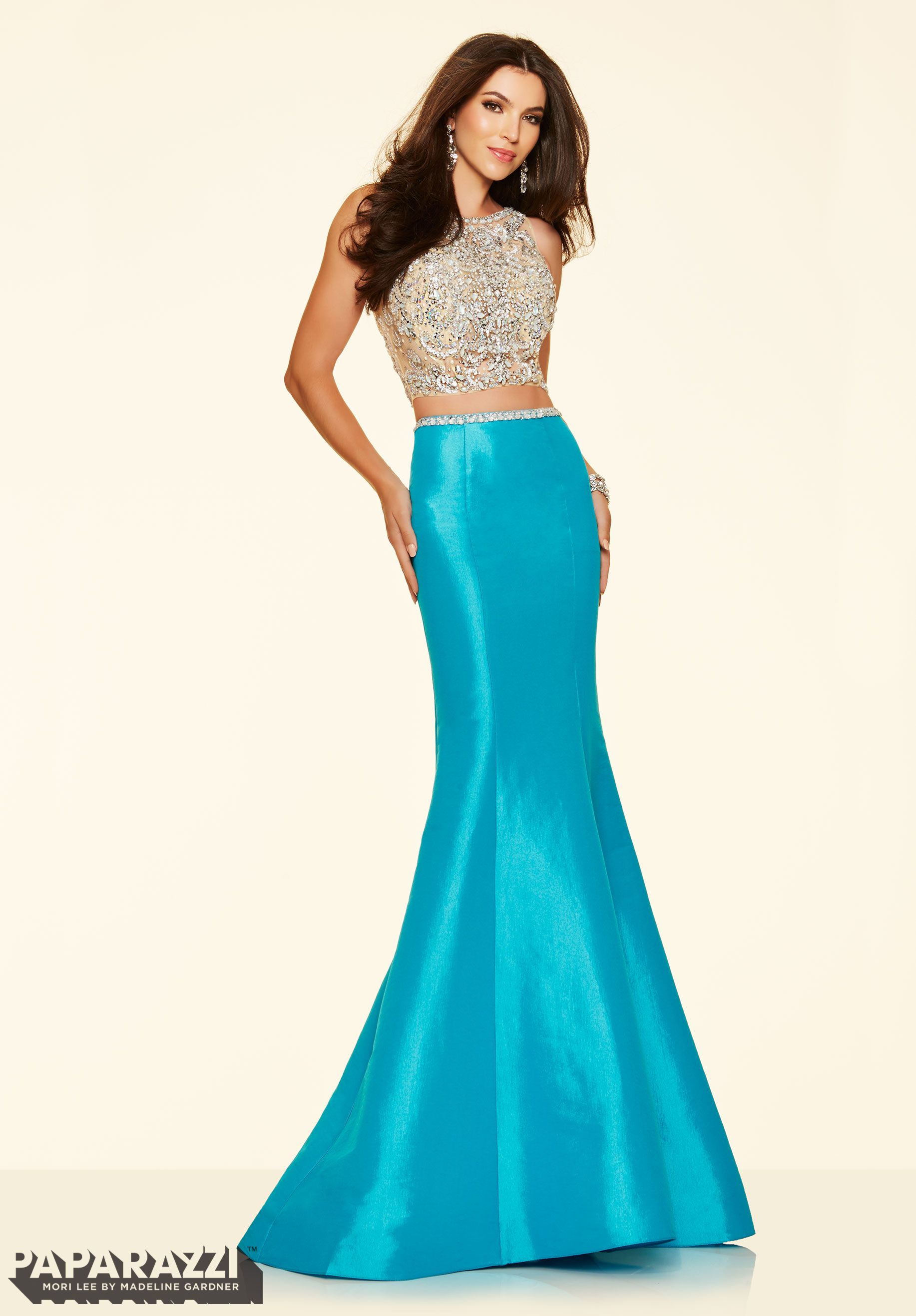 2 Piece Jeweled Beaded Net and Stretch Taffeta. Colors Available: White, Turquoise