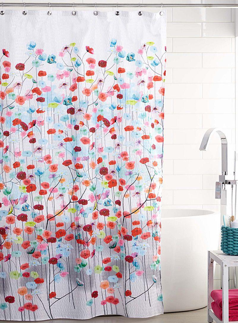 le rideau de douche fleurs multicolore d co accessoires. Black Bedroom Furniture Sets. Home Design Ideas