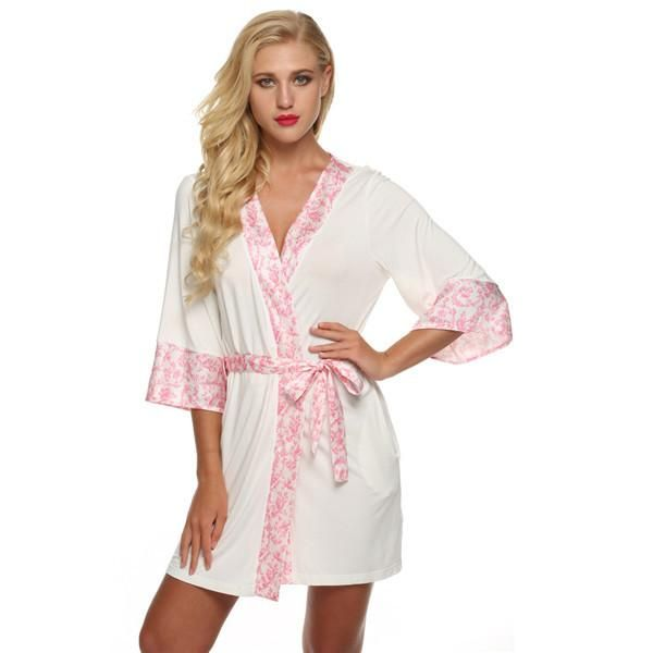 Women Bathrobe Sexy flower Short Lingerie Baby doll Nightdress Rayon Silk  Sleepwear Dress V-neck Bath 89466332d