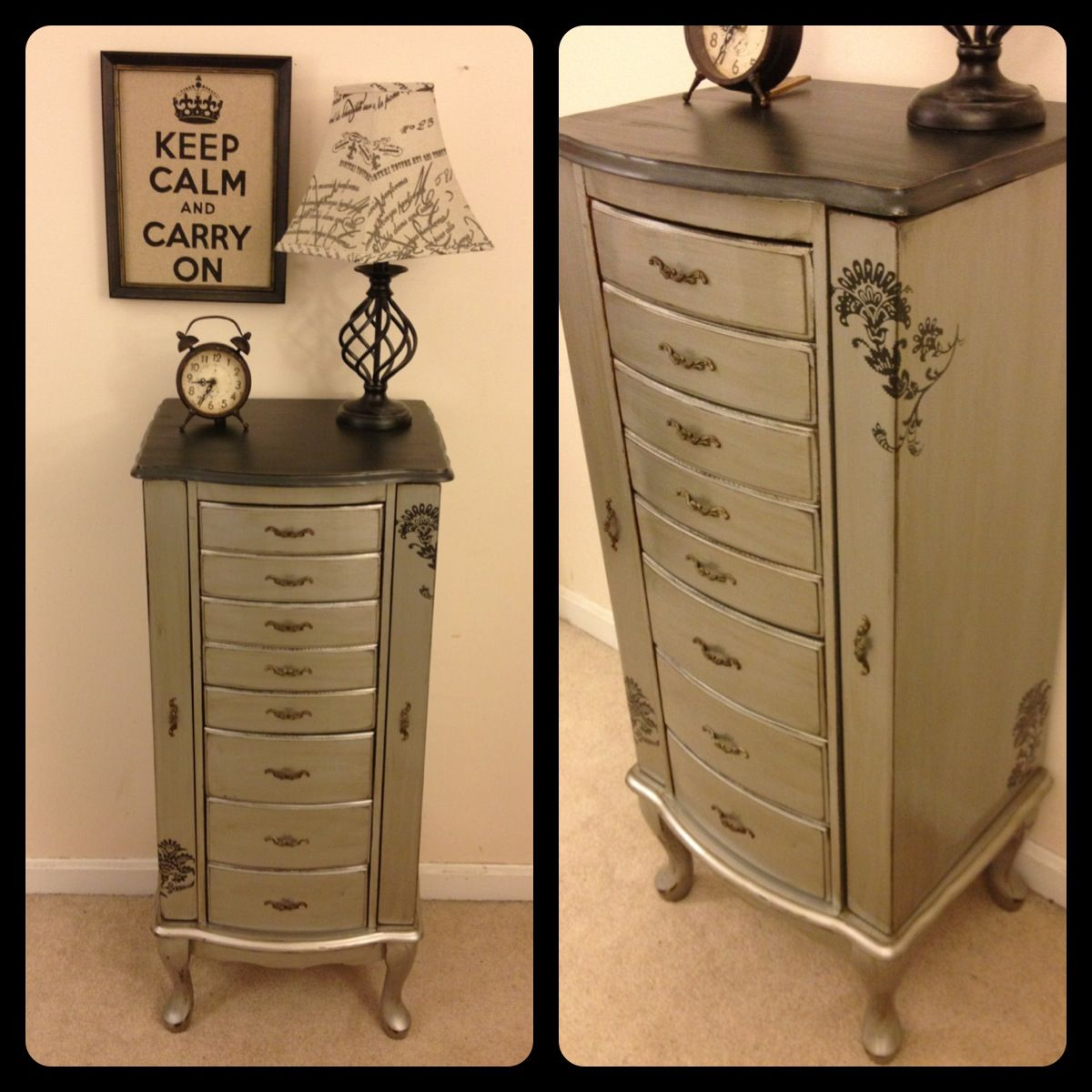 Metallic Silver And Black Jewelry Armoire By Furniture Alchemy Modern Masters Paint Painted Jewelry Armoire Makeover Painted Jewelry Armoire Armoire Makeover