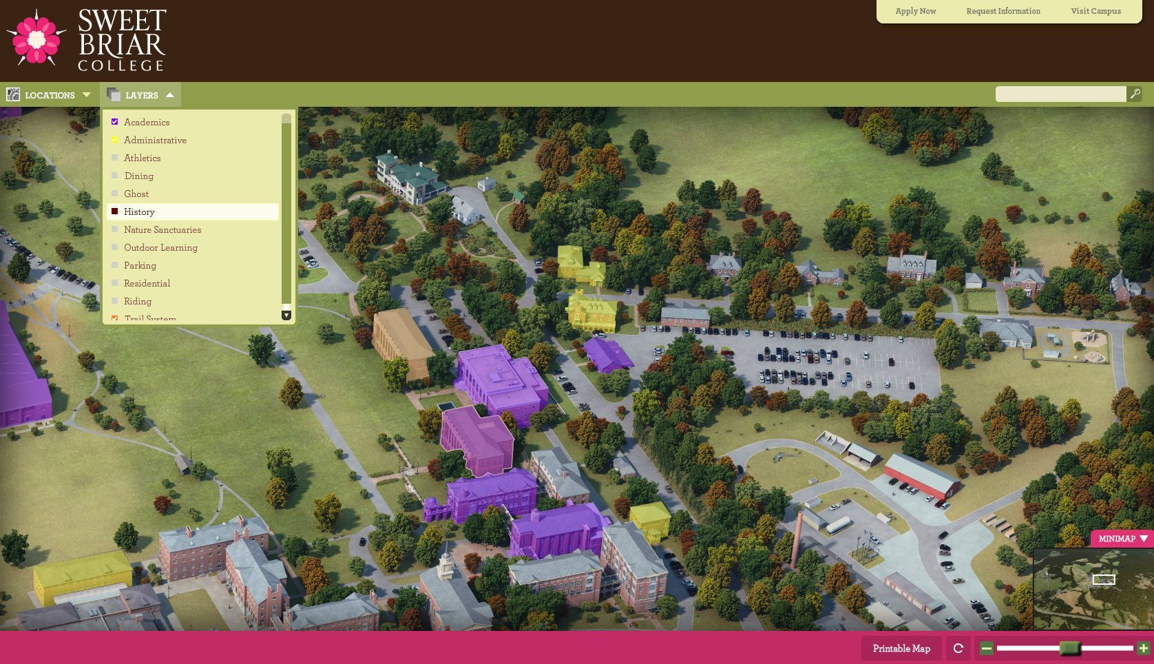 sweet briar campus map Sweet Briar College Campus Map With Multiple Layers Sweet Briar