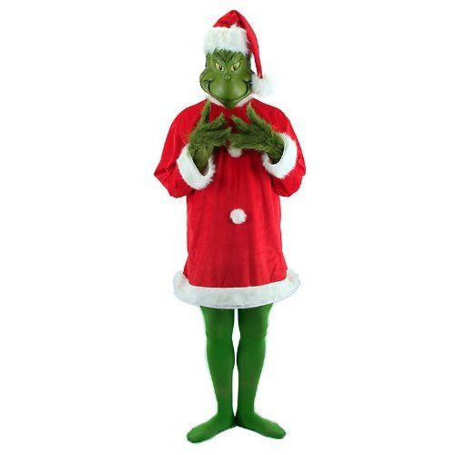 8037f6fc091 Elope Men s How The Grinch Stole Christmas! - The Grinch Deluxe Adult  Costume One Size Red