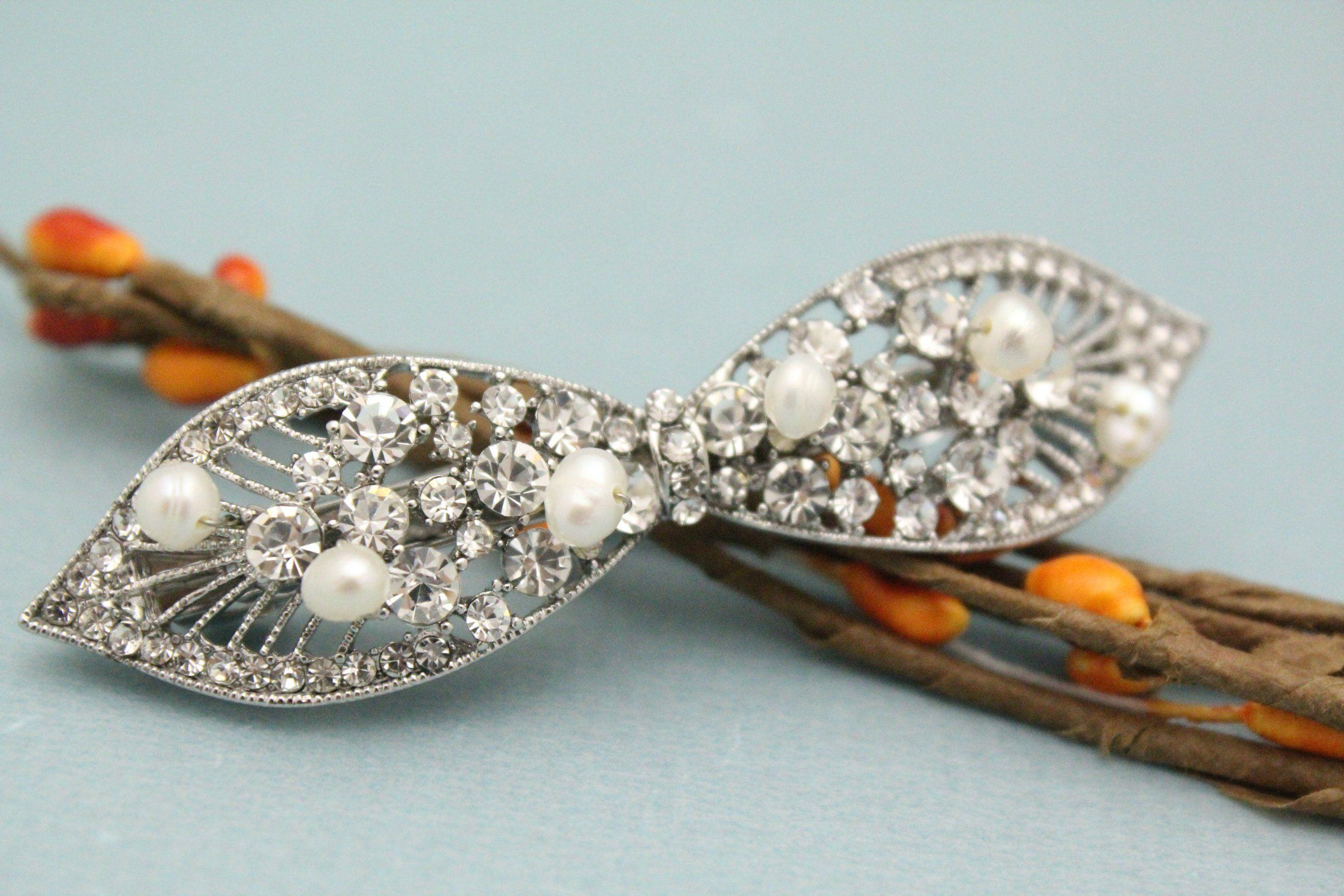 bridal hair barrette,pearl rhinestone hair clip,wedding hair