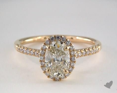 14K Yellow Gold Halo Engagement Ring
