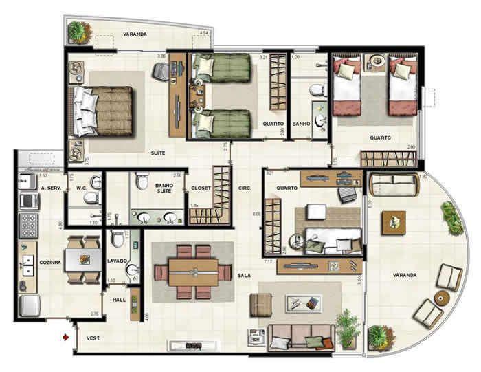 Ap4 2 Quartos 76 M2 Jpg 700 541 Plantas Apartamento Layouts