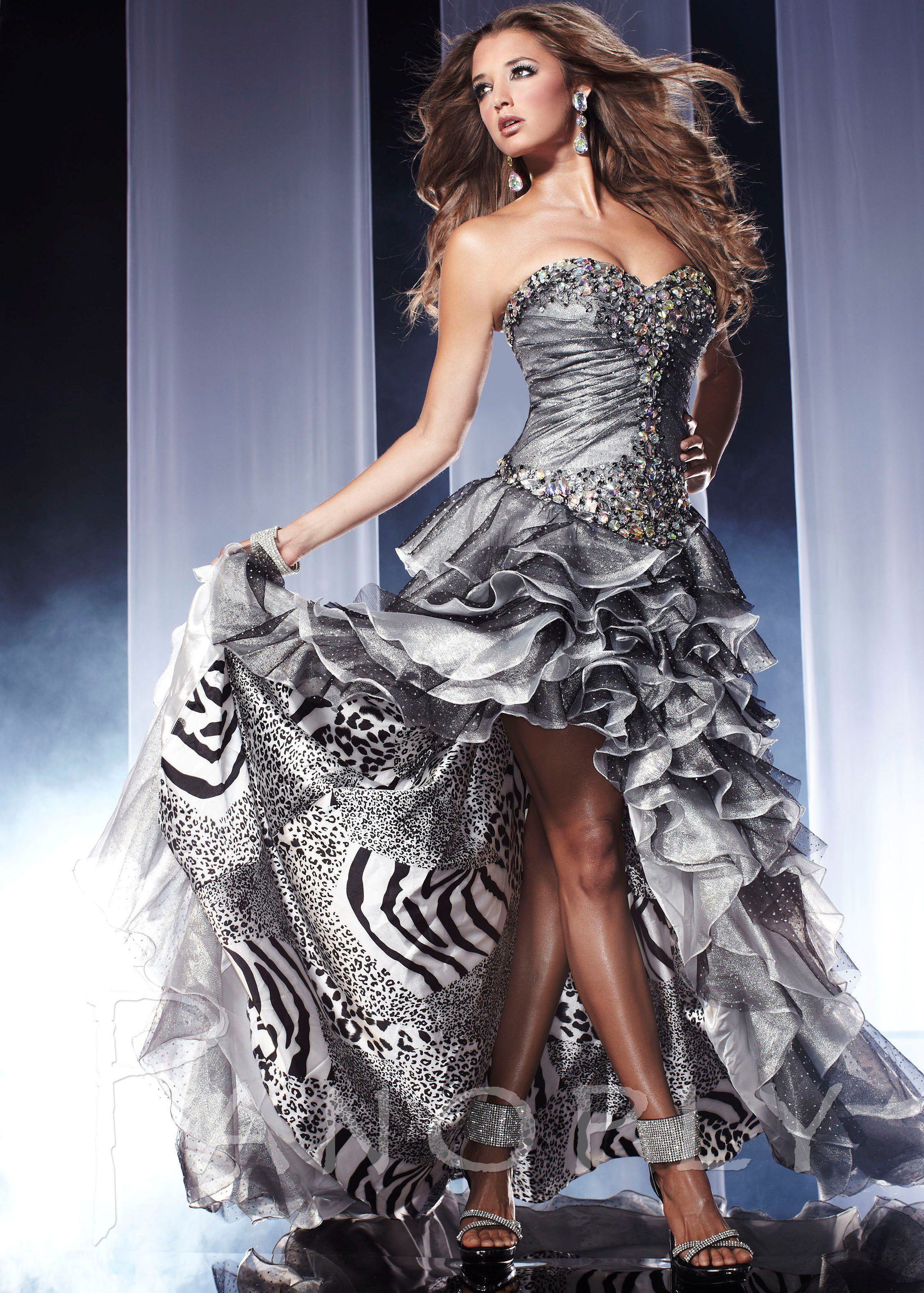 Free shipping on 2013 prom dresses, Panoply 14560 silver tiger print ...