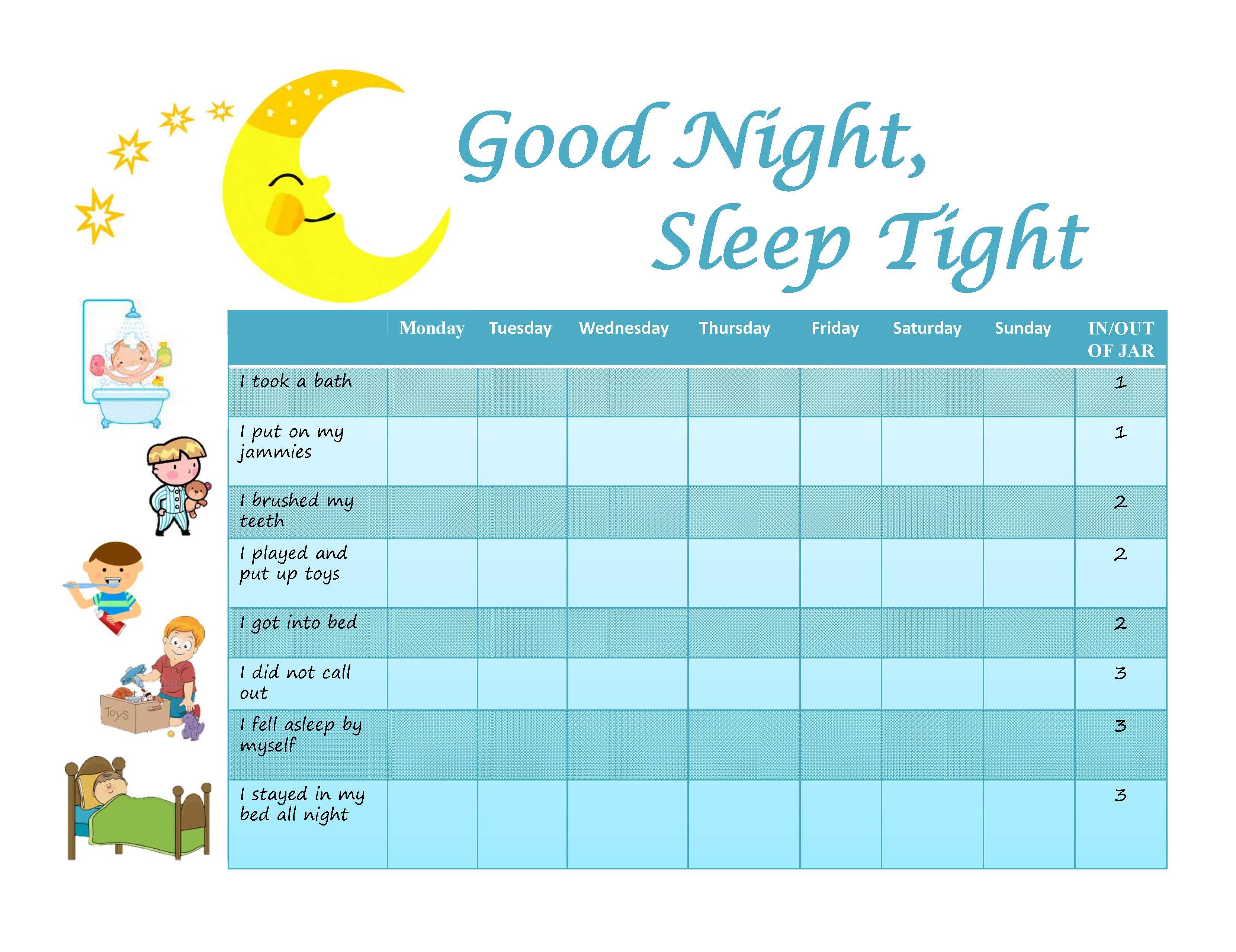 Landon S Bedtime Chart With Jar Reward