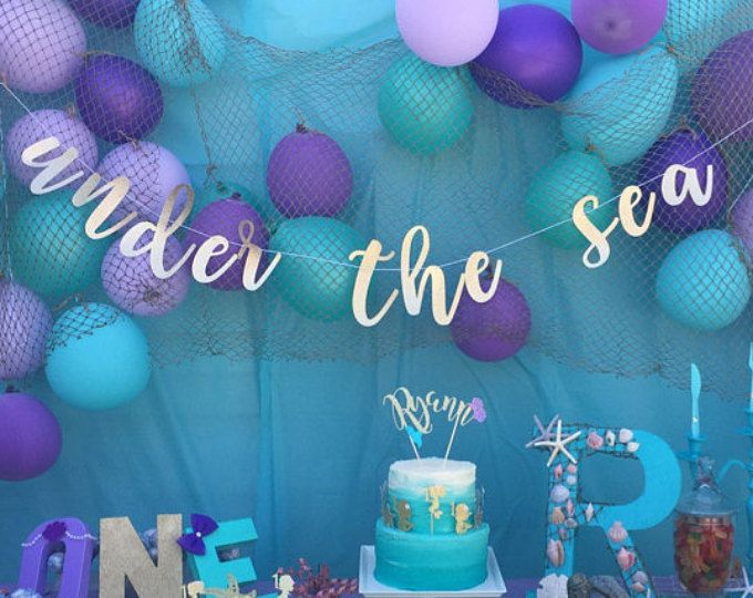 Mermaid Party Under The Sea Party Decor Starfish Birthday Banner Mermaid Banner Bubble Birthday Banner Under the Sea Birthday Banner