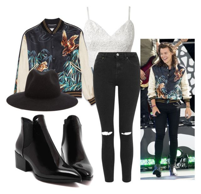"""""""Harry styles"""" by caitlynrunager on Polyvore featuring Yves Saint Laurent, Topshop, rag & bone and harrystyles"""
