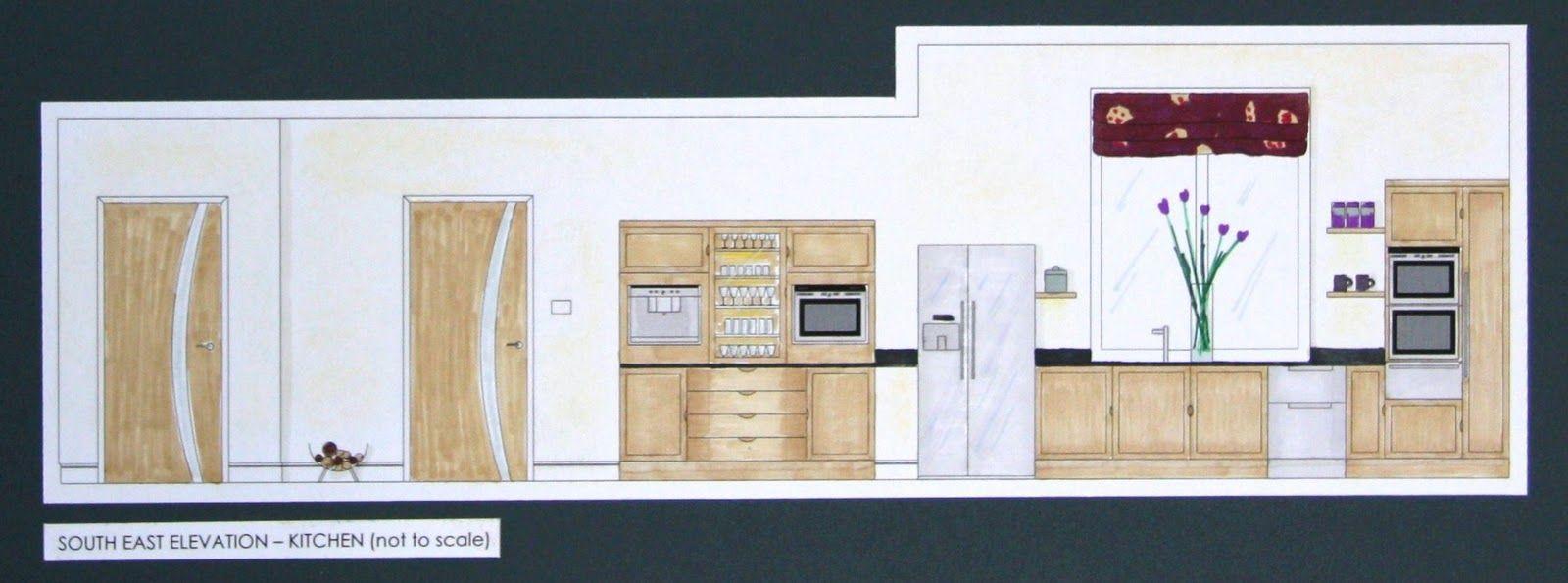 kitchen elevation rendering Kitchen elevation, Interior