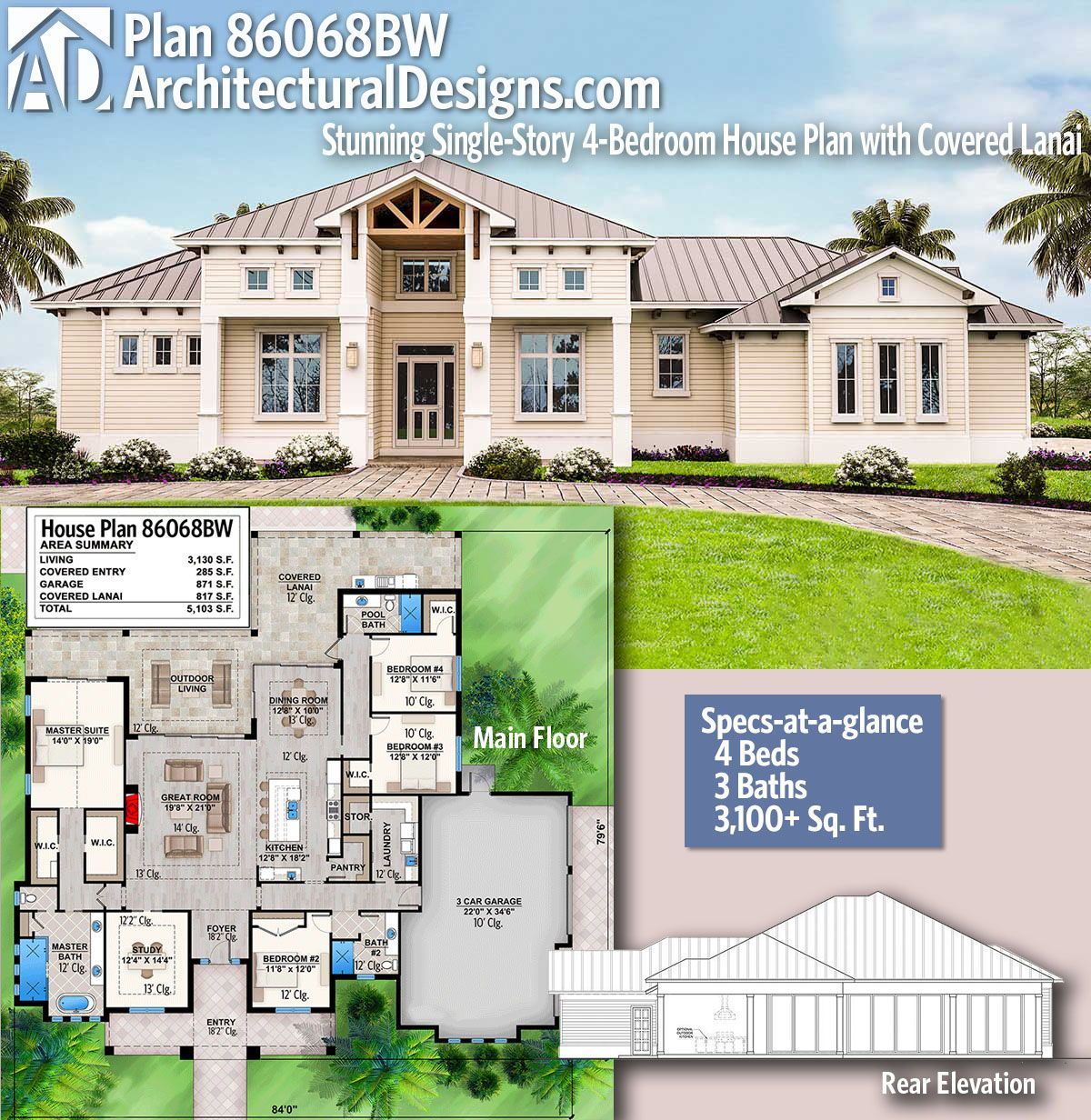 Plan 86068bw Stunning Single Story 4 Bedroom House Plan With Covered Lanai House Plans Florida House Plans House Blueprints