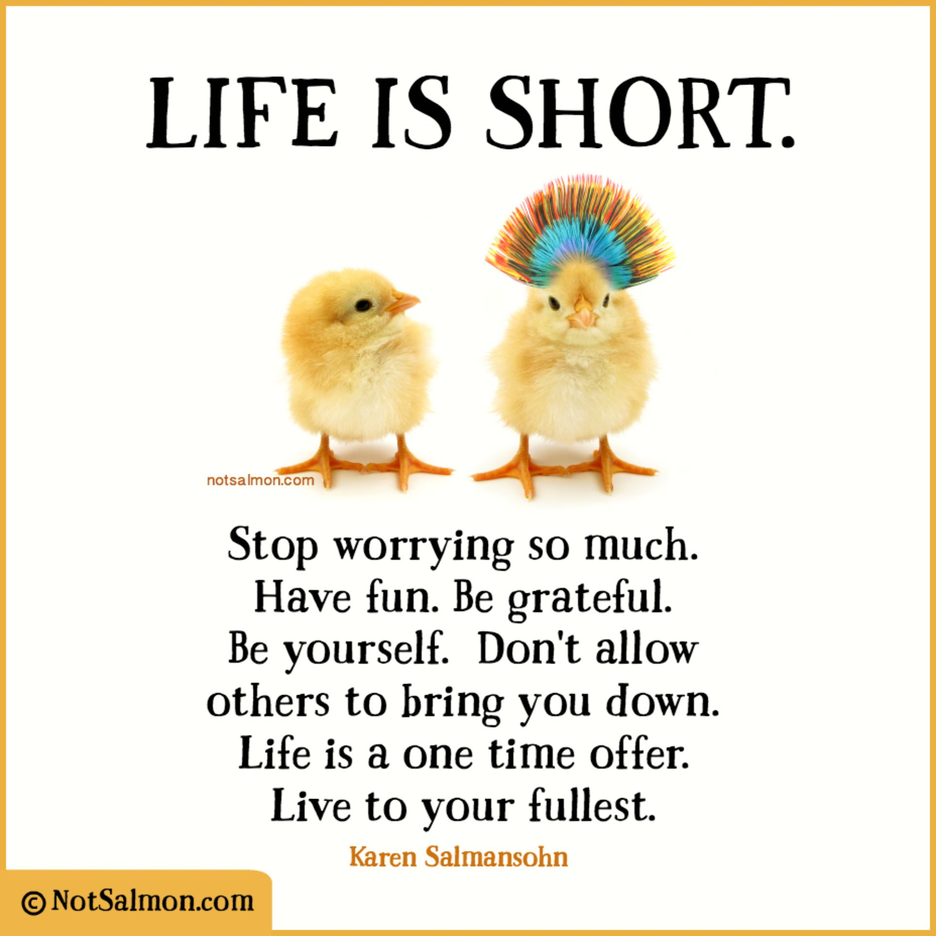 Life Is Short Stop Worrying So Much Have Fun Be Grateful Be Yourself Dont Allow Others To Bring Y Life Is Too Short Quotes Bad Day Quotes Happy Day Quotes