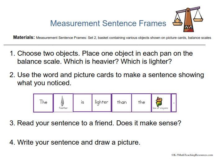 Measurement sentence frames task card/FREE downloads   Kindergarten ...