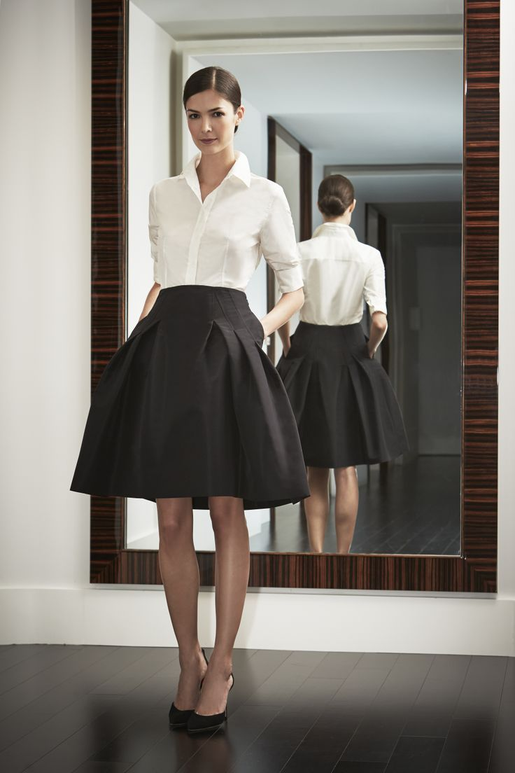 caroline-herrera-white-shirt-a-line-skirt | My Style | Pinterest ...