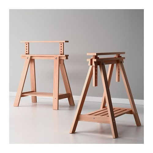 Finnvard trestle with shelf ikea solid wood is a durable Sawhorse desk legs