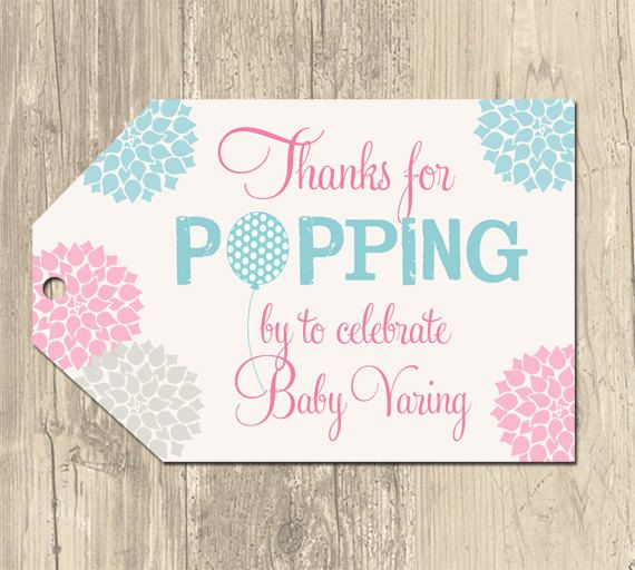 Ready To Pop Baby Shower Tags, Baby Shower Favor Tags, Thank You Tag,  Balloon Baby Shower, Pink And Blue Floral, Modern Printable Tags