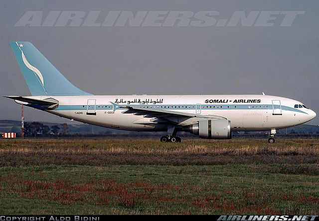 Somali Airlines Airbus A310-304 during landing rollout at Rome-Fiumicino/Leonardo da Vinci International, November 1989