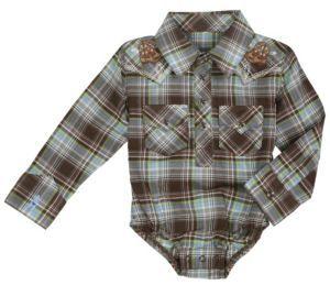2d747444 Wrangler® All Around Baby™ Boys Brown, Blue & Green Plaid Long Sleeve  Western Onesie