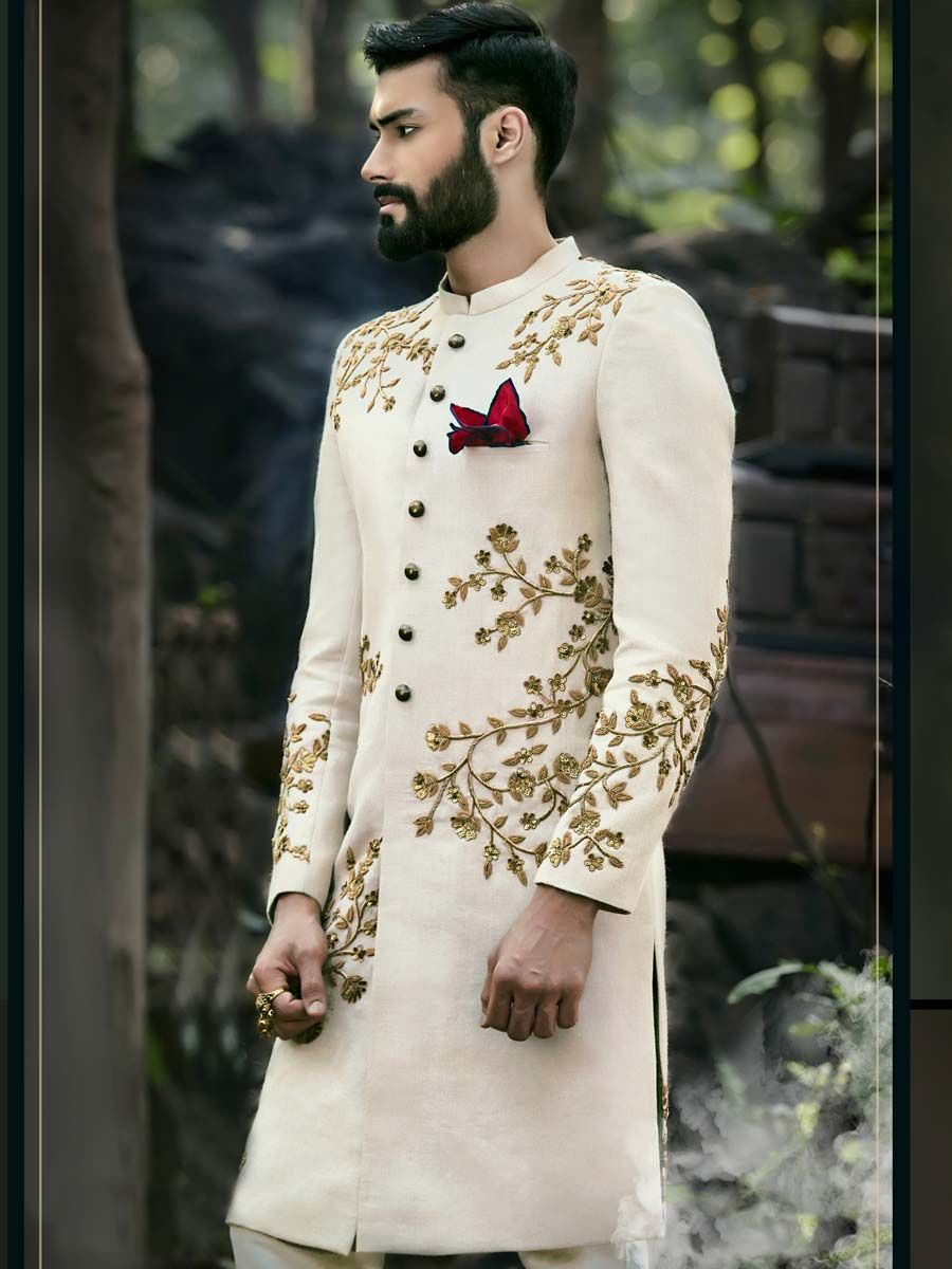 4a6fc8a86d Add a Majestic touch to your wedding day with this extremely stylish outfit.  Exclusive off white linen sherwani and matching churidar pyjama.