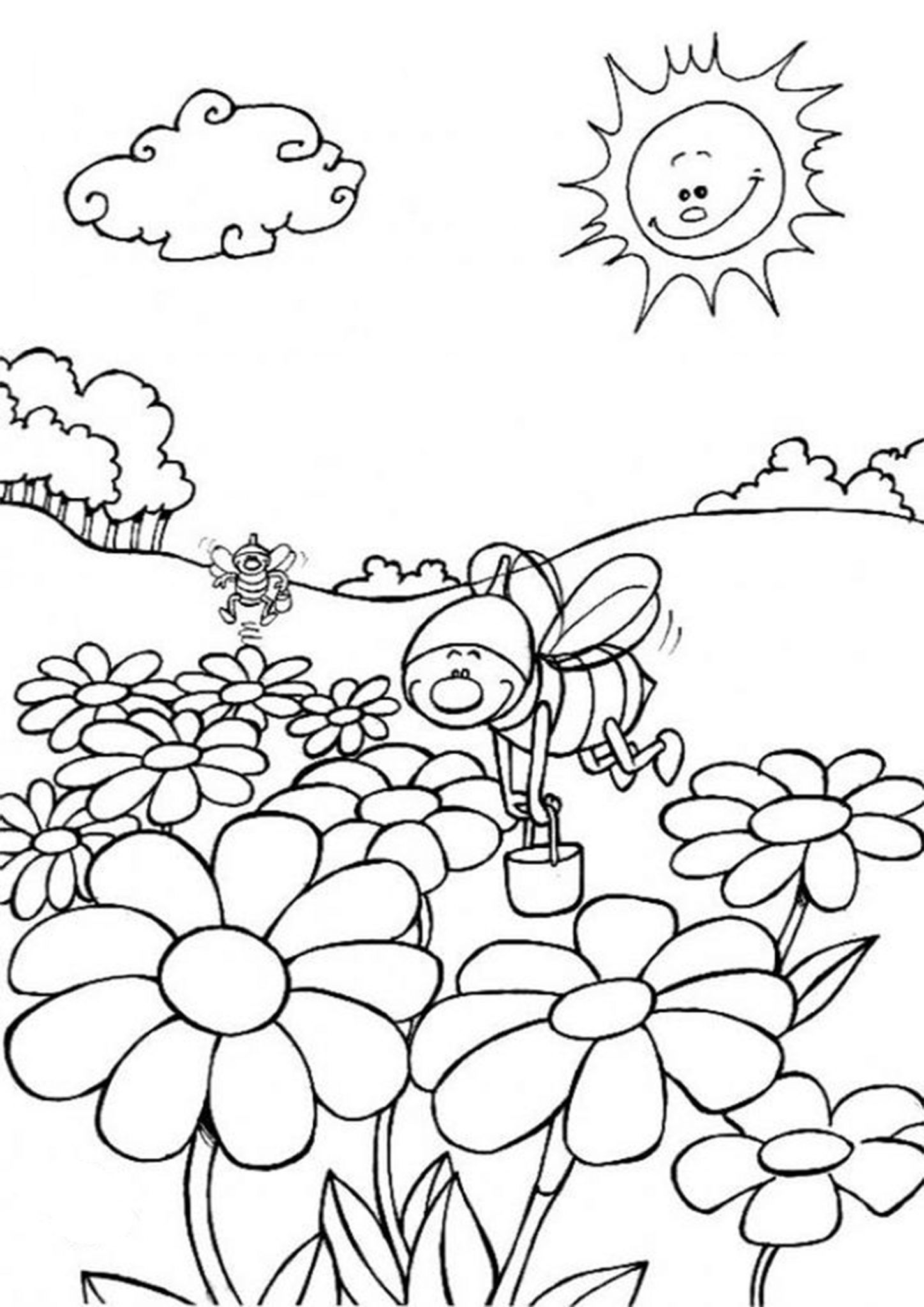 Free Easy To Print Flower Coloring Pages Bee Coloring Pages Insect Coloring Pages Farm Animal Coloring Pages [ 2048 x 1448 Pixel ]