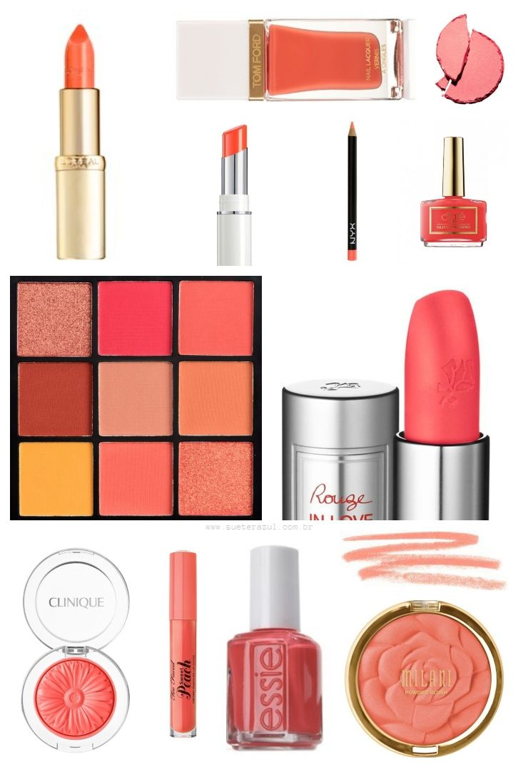 make-up like lipstick, blush palette, bronzer, nail paint, lip pencil in the shade