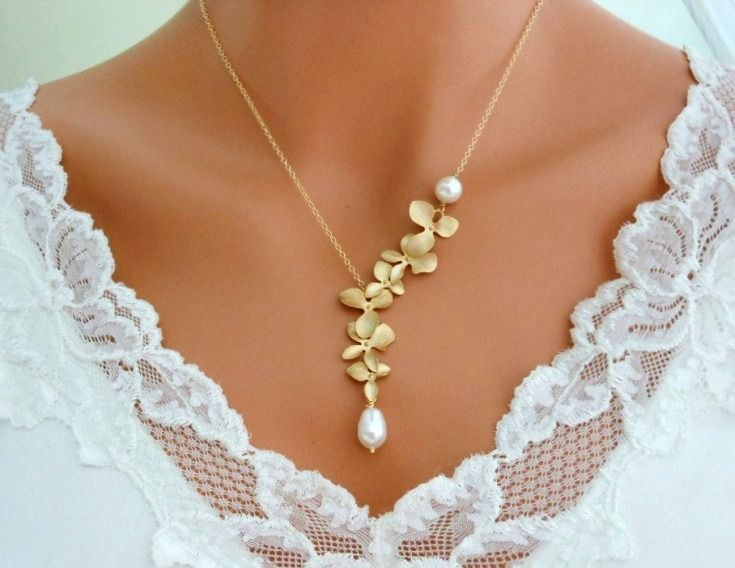 Orchid Necklace Gold Pearl Wedding Jewelry Bridal Bridesmaid 4699