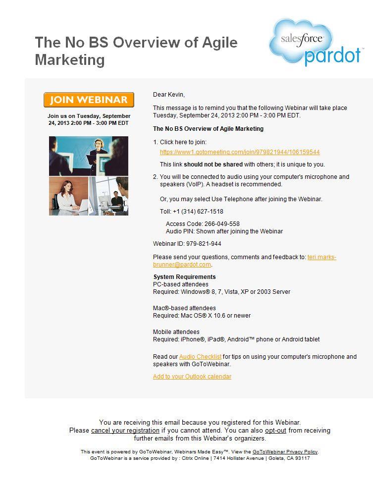 PardotS Generic Webinar Reminder Email Uses Gotowebinar