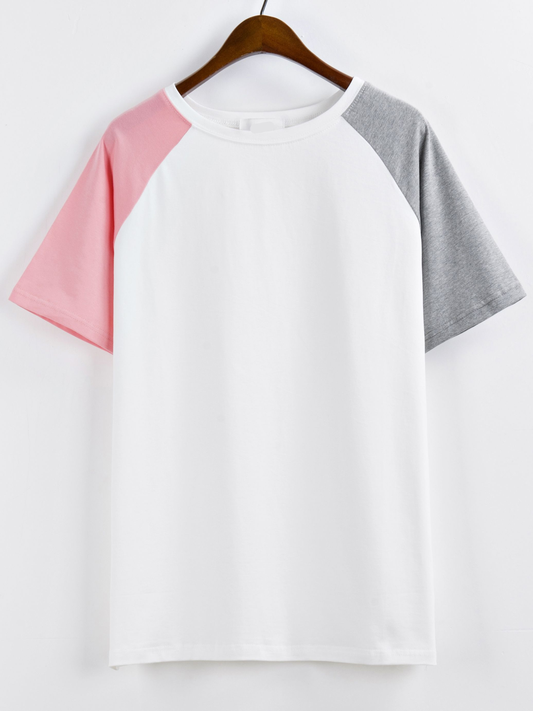 954e216cb192 Shop Raglan Sleeve Color-block T-shirt online. SheIn offers Raglan Sleeve  Color-block T-shirt & more to fit your fashionable needs.