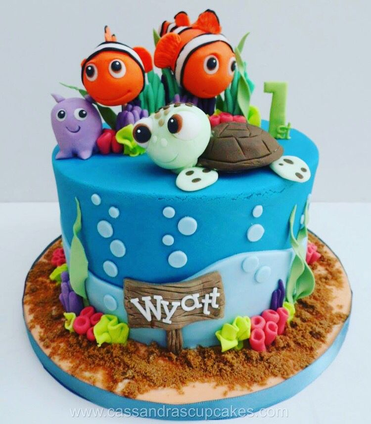 Surprising Finding Nemo 1St Birthday Cake Fish With Images Fish Cake Funny Birthday Cards Online Elaedamsfinfo