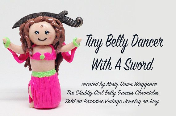 Tiny Belly Dancer With Sword Charm by ParadiseVintageJewel on Etsy