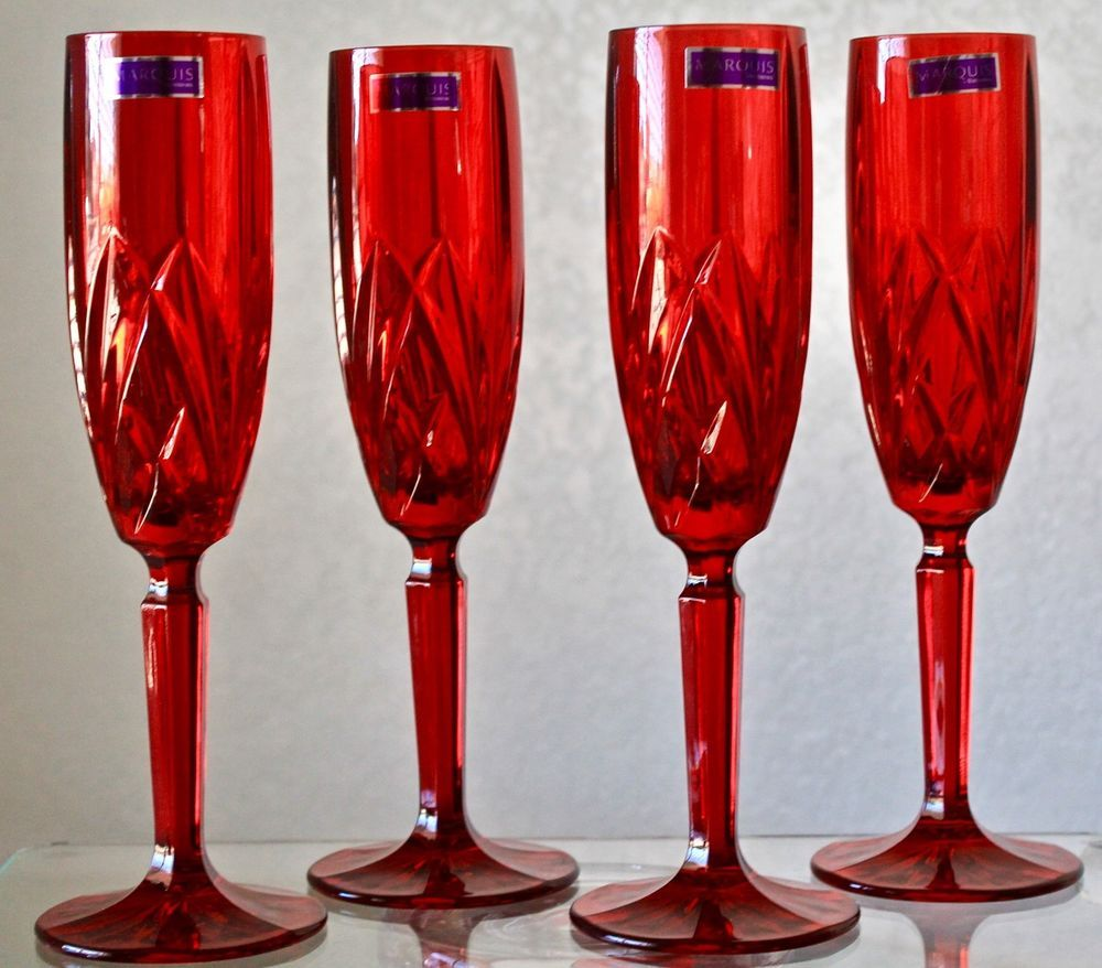 Marquis By Waterford Brookside Red Champagne Flute Set Of 4 Crystal New In Box Champagne Flute Set Red Champagne Champagne Flute