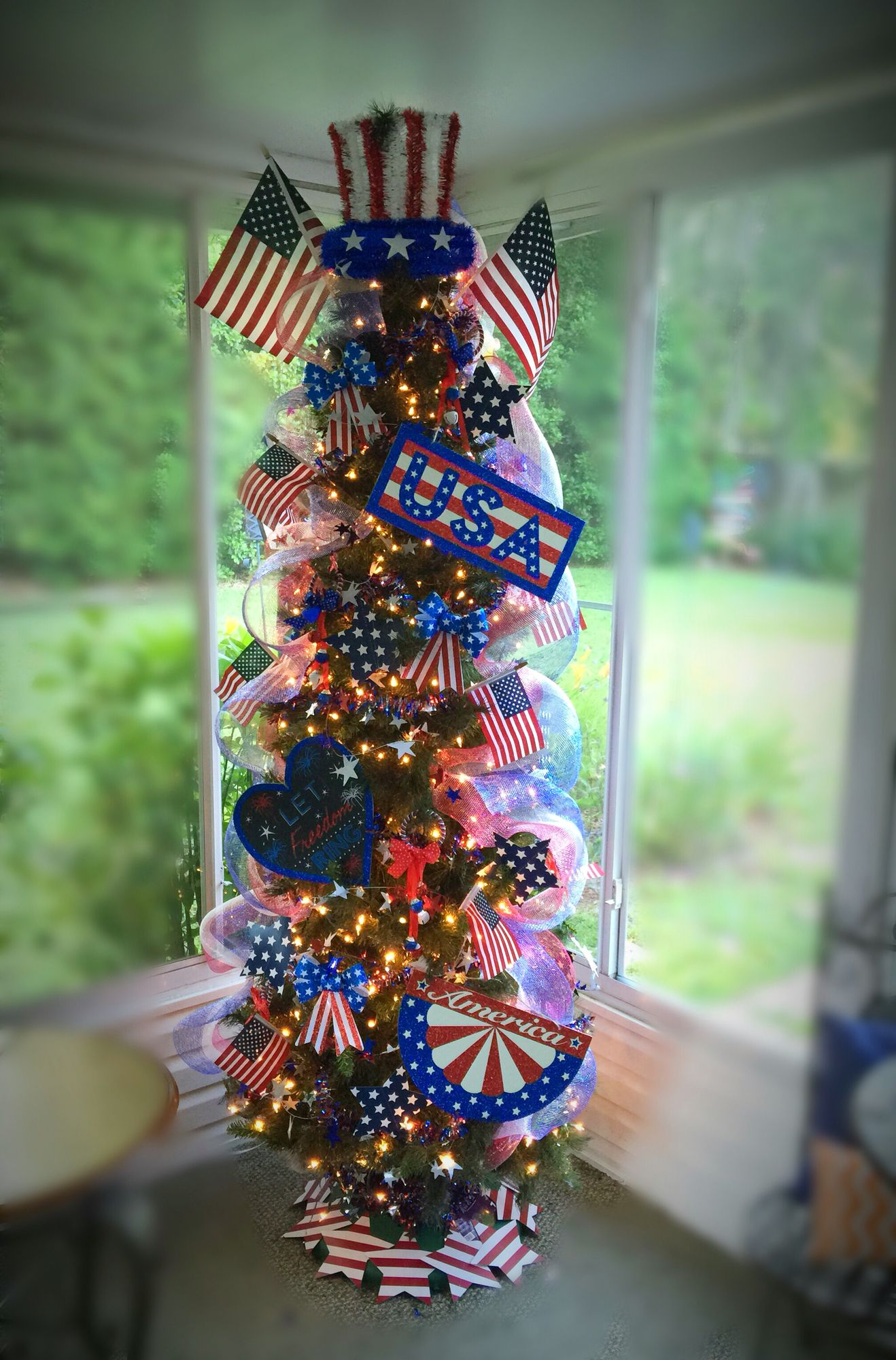 Memorial Day Tree 4th Of July Tree Patriotic Tree Usa Memorial Day Decorations Labor Day Decorations Patriotic Christmas Tree