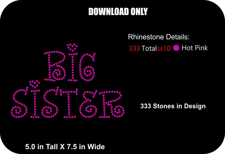 Rhinestone Transfer Template Pattern Big Sister Download Stencil