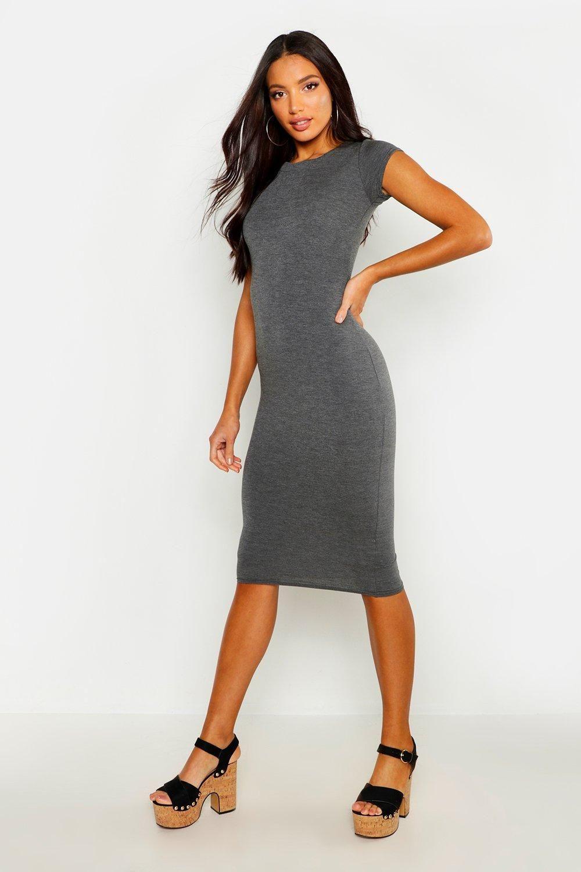 Cap Sleeve Jersey Bodycon Midi Dress Midi Dress Bodycon Bodycon Fashion Grey Midi Dress [ 1500 x 1000 Pixel ]