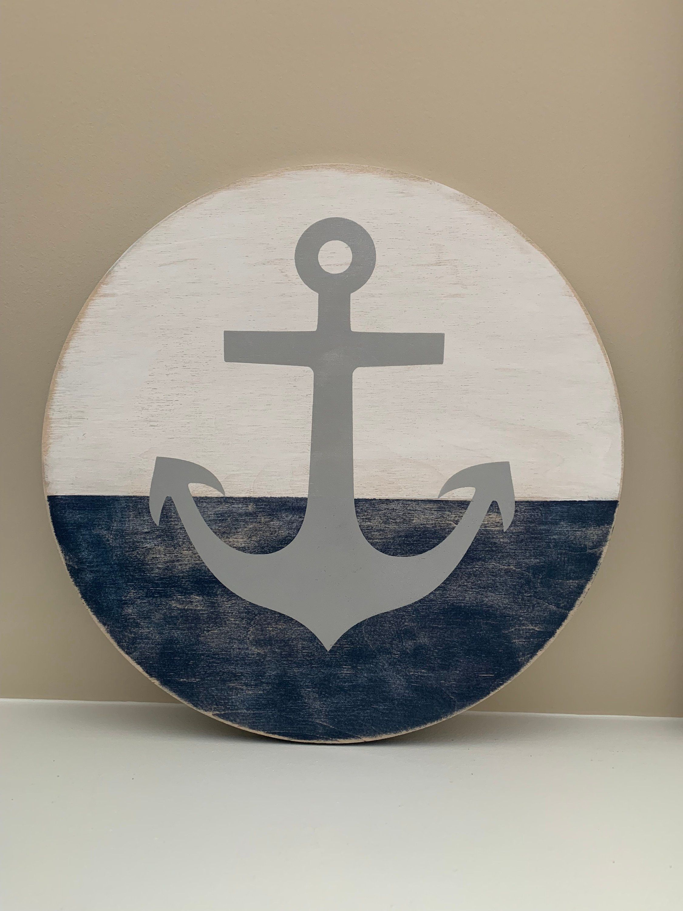 Photo of Nautical Anchor Round Wood Wall Sign Art, Coastal Farmhouse, Nautical Decor, Coastal, Beach Home Decor, Lake House Decor, Round sign