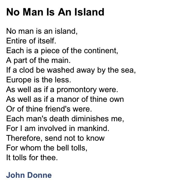 Essay: No man is an island