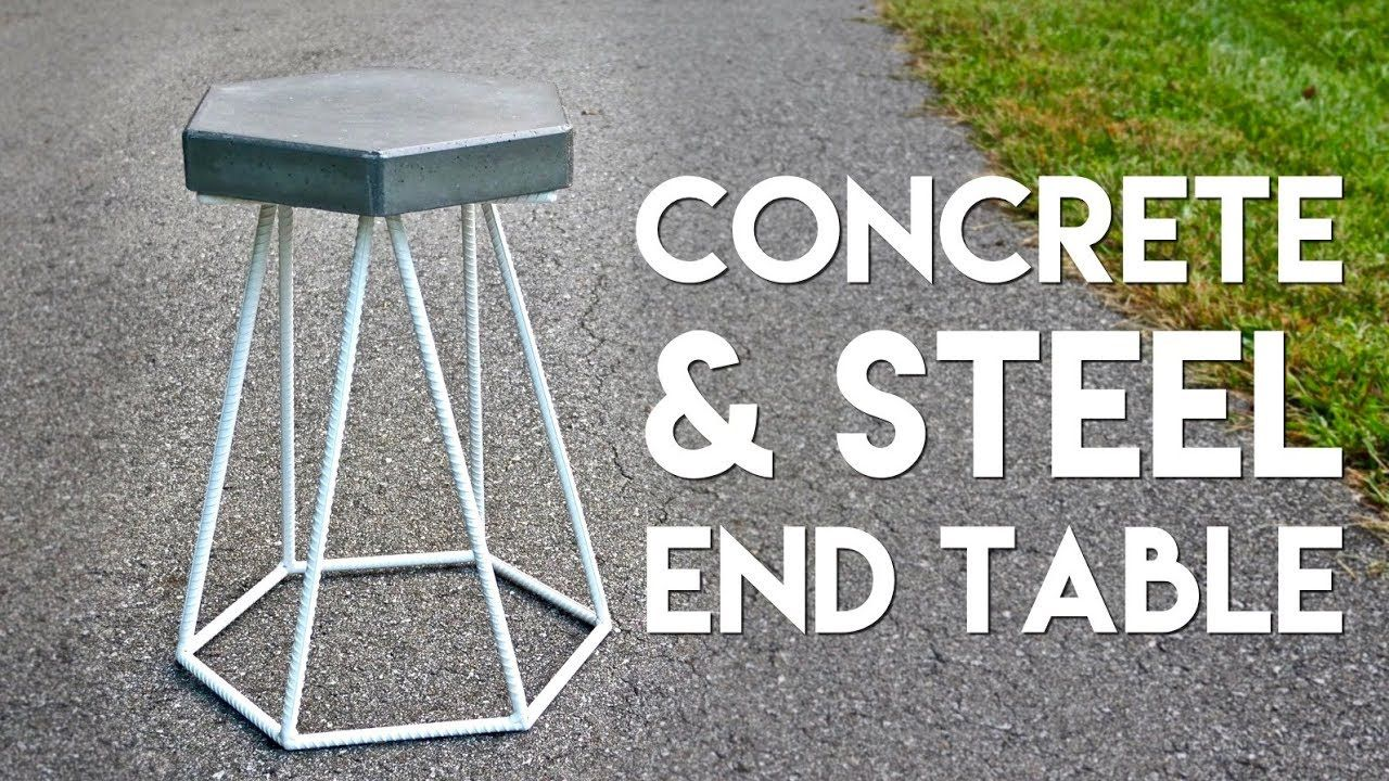 I built an end table out of concrete and rebar first concrete in this video ill show you how to build a diy concrete and steel outdoor end table solutioingenieria Gallery