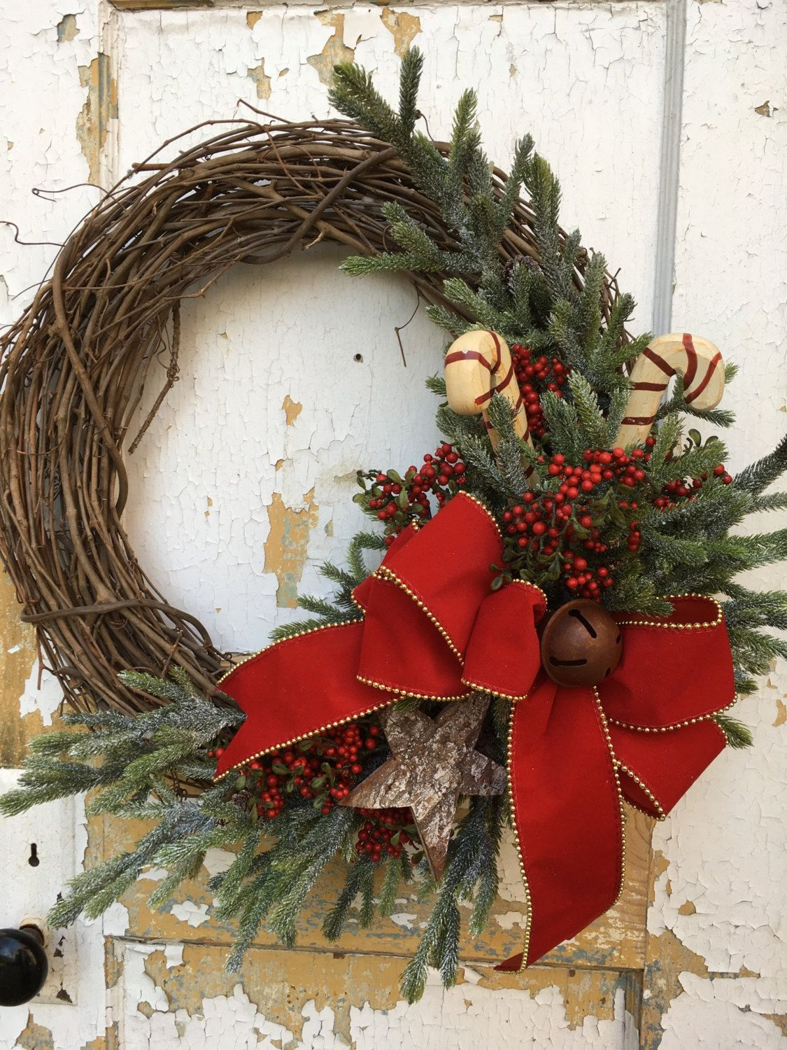 rustic christmas wreath for front door candy cane wreath etsy wreath by flowerpowerohio on etsy - Christmas Wreaths Etsy