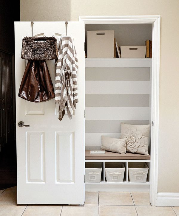 Furniture Wonderful Hallway Storage Ideas For Small Spaces With Single Closet  Door From White Wood Material