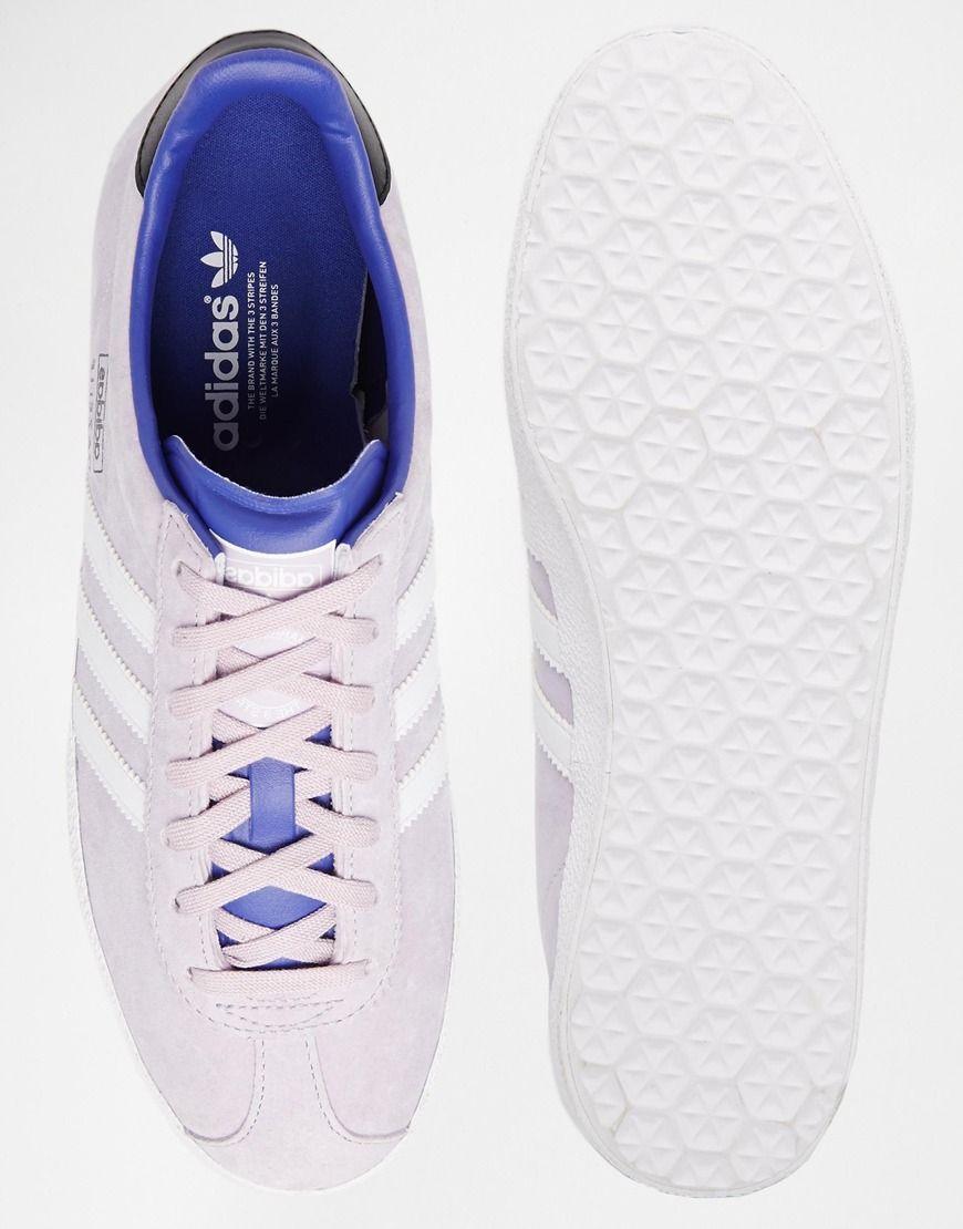 purple adidas gazelle trainers