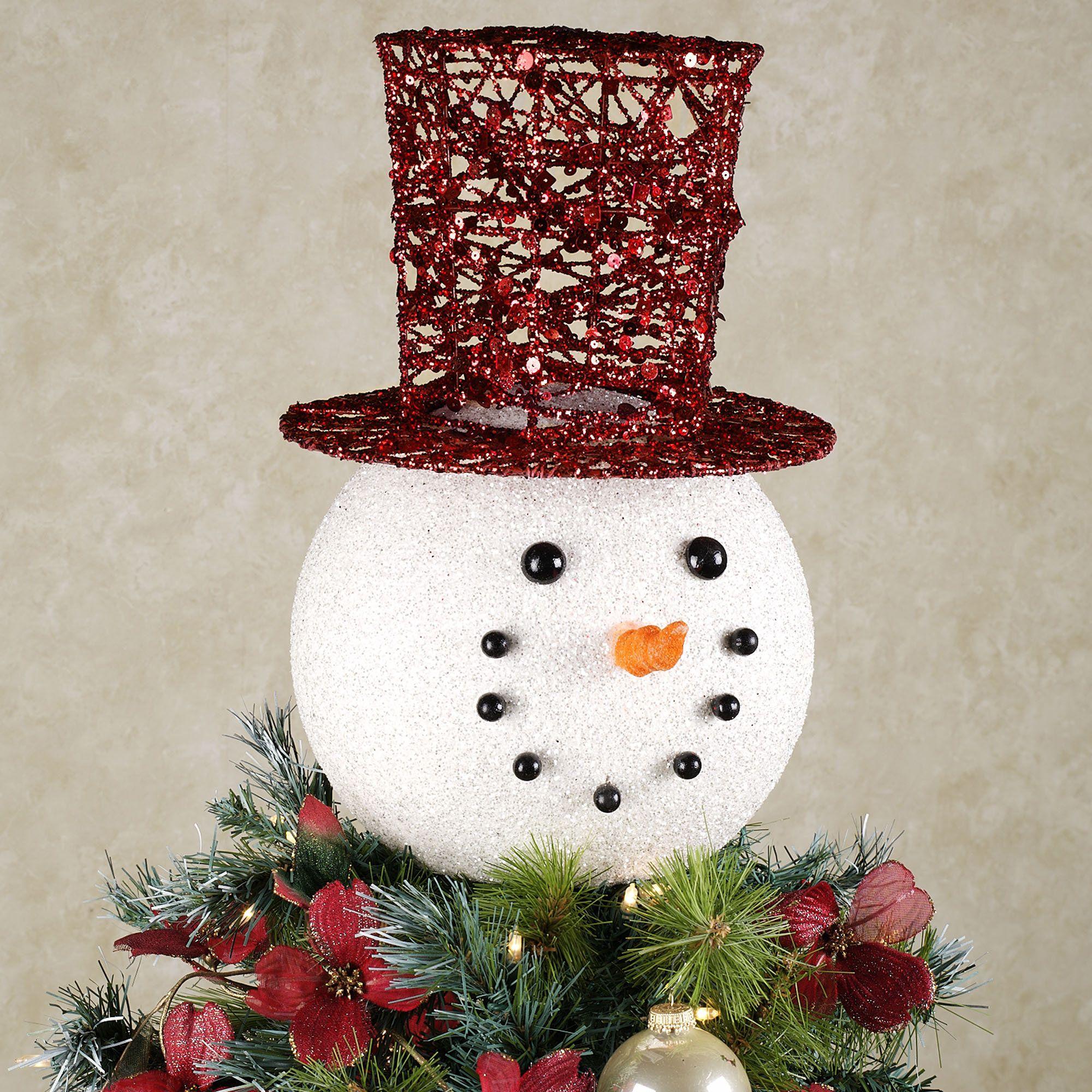snowman head tree topper white christmahannukwanzukkah. Black Bedroom Furniture Sets. Home Design Ideas
